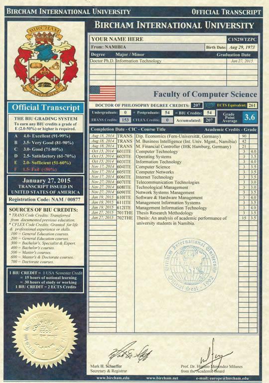 BIU Exemple de Certificat de Notes