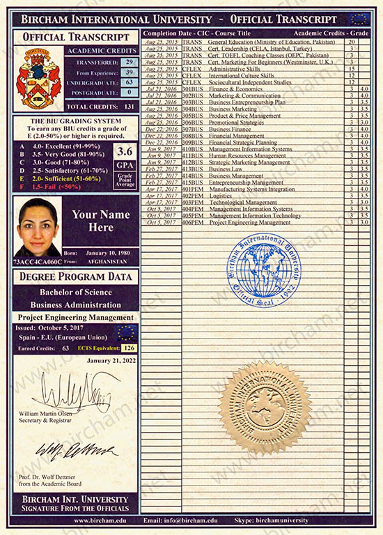 Transcript- Certificado de Notas Bircham International University